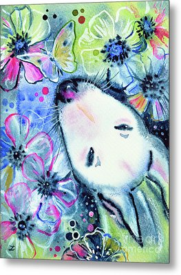 Metal Print featuring the painting White Bull Terrier And Butterfly by Zaira Dzhaubaeva