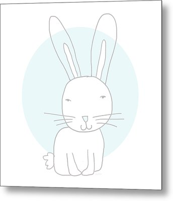 White Bunny On Blue- Art By Linda Woods Metal Print