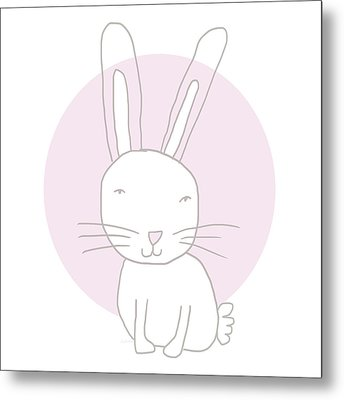 White Bunny On Pink- Art By Linda Woods Metal Print