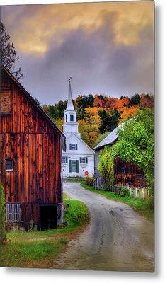 White Church In Autumn - Waits River Vermont Metal Print by Joann Vitali