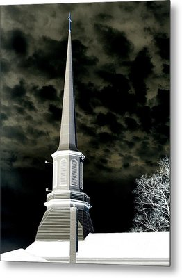 White Cross Dark Skies Metal Print