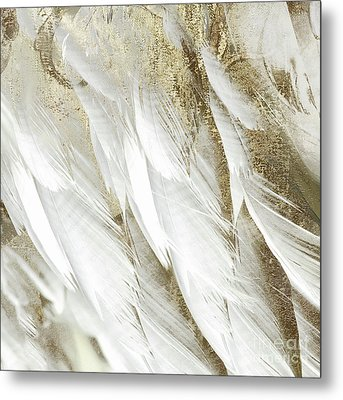 White Feathers With Gold Metal Print