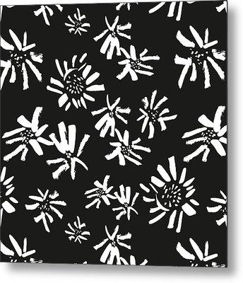 White Flowers On The Black Metal Print
