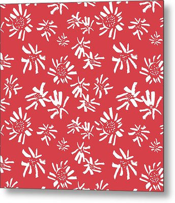 White Flowers On The Red Metal Print