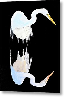 Metal Print featuring the painting White Heron by Eric Kempson