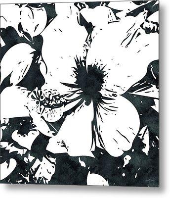 White Hibiscus- Art By Linda Woods Metal Print