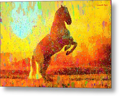 White Horse - Da Metal Print by Leonardo Digenio