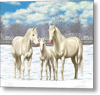 White Horses In Winter Pasture Metal Print
