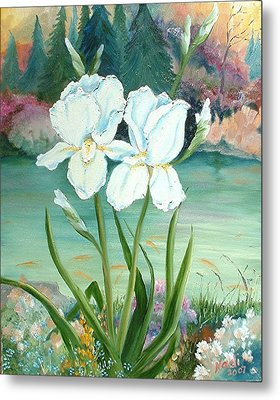 White Iris Love Metal Print by Renate Nadi Wesley