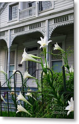 White Lilies With White Detail Metal Print by Jeanne  Woods