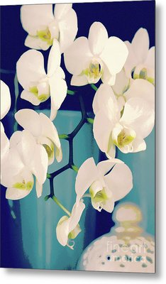 White Orchids In Turquoise Vase Metal Print