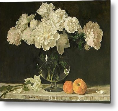 White Peonies In Giant Snifter With Peaches Metal Print