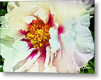 Metal Print featuring the painting White Peony by Joan Reese