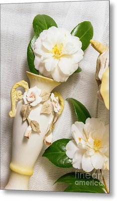 White Rhododendron Funeral Flowers Metal Print by Jorgo Photography - Wall Art Gallery