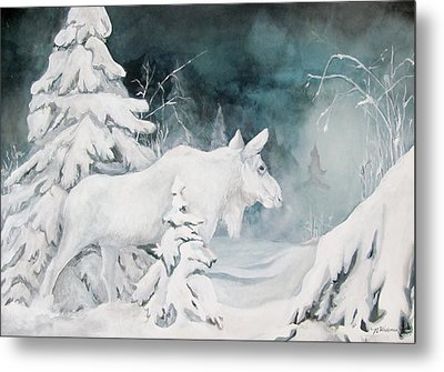 White Spirit Moose Metal Print by Nonie Wideman