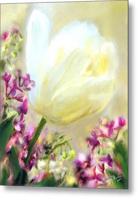 White Tulip Glow Metal Print by Patty Muchka