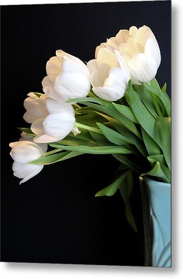 White Tulips In Blue Vase Metal Print by Julia Wilcox