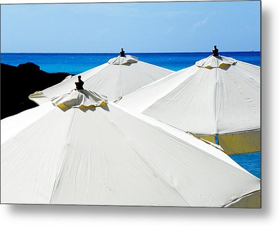 White Umbrellas Metal Print by Karen Wiles