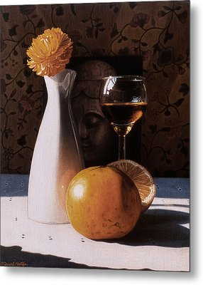 White Vase And Grapefruits Metal Print by Daniel Montoya