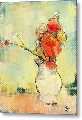 Metal Print featuring the painting White Vase by Carrie Joy Byrnes