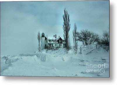 Whiteout At Point Betsie Metal Print by Matthew Winn