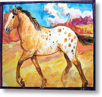 Metal Print featuring the painting Wild Appaloosa Horse by Jenn Cunningham