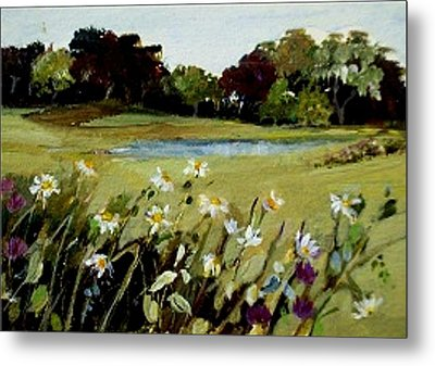 Metal Print featuring the painting Wild Flower Landscape by Diane Ursin