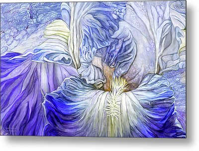 Metal Print featuring the mixed media Wild Iris Blue by Carol Cavalaris