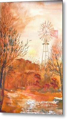 Metal Print featuring the painting Wilderness Windmill by Sharon Mick