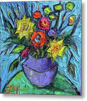Wildflowers Bouquet On Green Table - Impasto Palette Knife Oil Painting - Mona Edulesco Metal Print