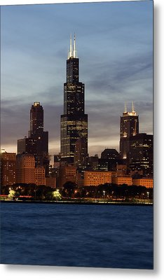 Willis Tower At Dusk Aka Sears Tower Metal Print by Adam Romanowicz