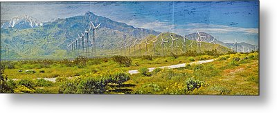 Metal Print featuring the photograph Wind Turbine Farm Palm Springs Ca by David Zanzinger