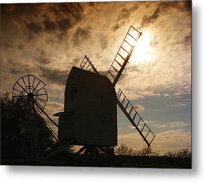 Windmill At Dusk  Metal Print by Pixel Chimp