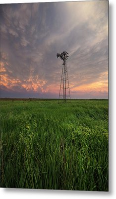 Metal Print featuring the photograph Windmill Mammatus by Aaron J Groen