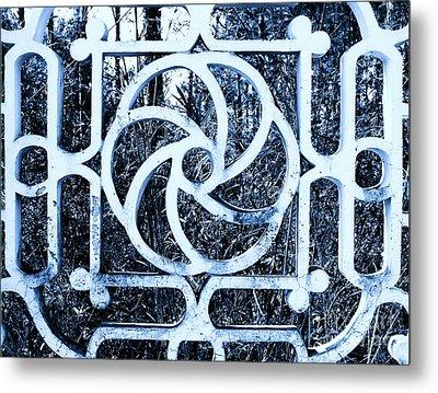 Window #4 Myknonos Blue Angeloffj Metal Print by Joy Angeloff