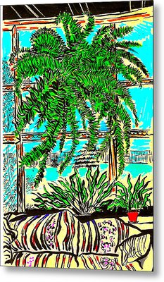 Metal Print featuring the drawing Window Loving Fern by Al Goldfarb