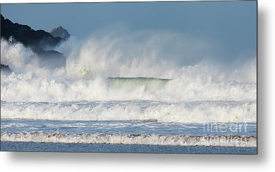 Metal Print featuring the photograph Windy Seas In Cornwall by Nicholas Burningham