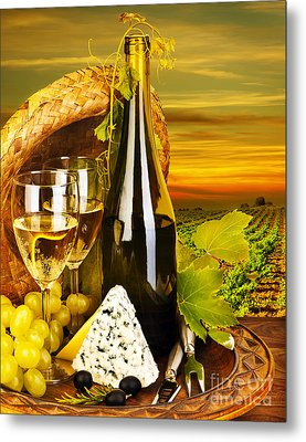 Wine And Cheese Romantic Dinner Outdoor Metal Print by Anna Om