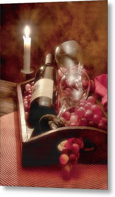 Wine By Candle Light II Metal Print by Tom Mc Nemar