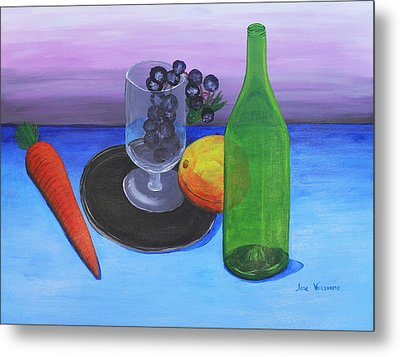 Wine Glass And Fruits Metal Print by M Valeriano