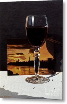 Wine Glass And Postcard Of Florence Metal Print by Daniel Montoya