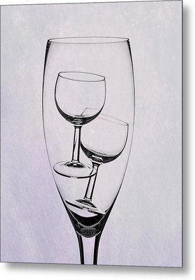 Wineglass Trio Metal Print by Tom Mc Nemar