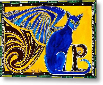 Metal Print featuring the painting Winged Feline - Cat Art With Letter P By Dora Hathazi Mendes by Dora Hathazi Mendes