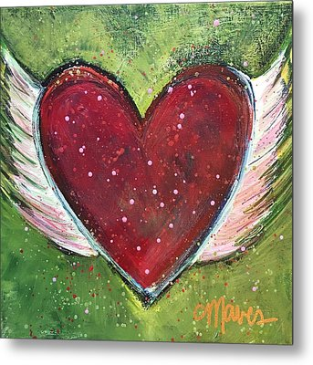 Metal Print featuring the painting Winged Heart Number 1 by Laurie Maves ART