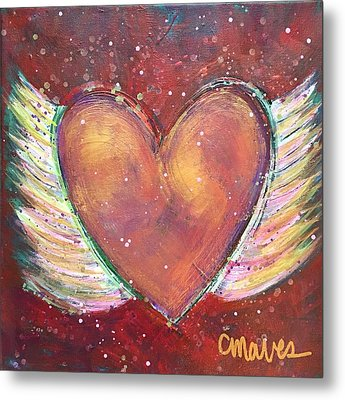 Metal Print featuring the painting Winged Heart Number 2 by Laurie Maves ART