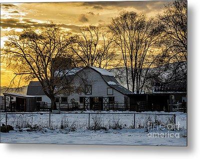 Winter Barn At Sunset - Provo - Utah Metal Print by Gary Whitton