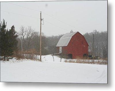 Winter Barn Scene  Metal Print by Eric Irion
