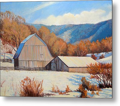 Winter Barns Metal Print by Keith Burgess