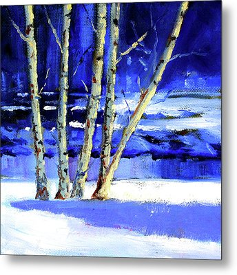 Metal Print featuring the painting Winter By The River by Nancy Merkle