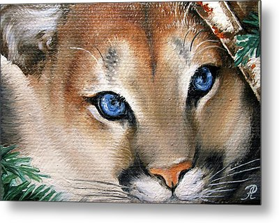Winter Cougar Metal Print by Larissa Prince